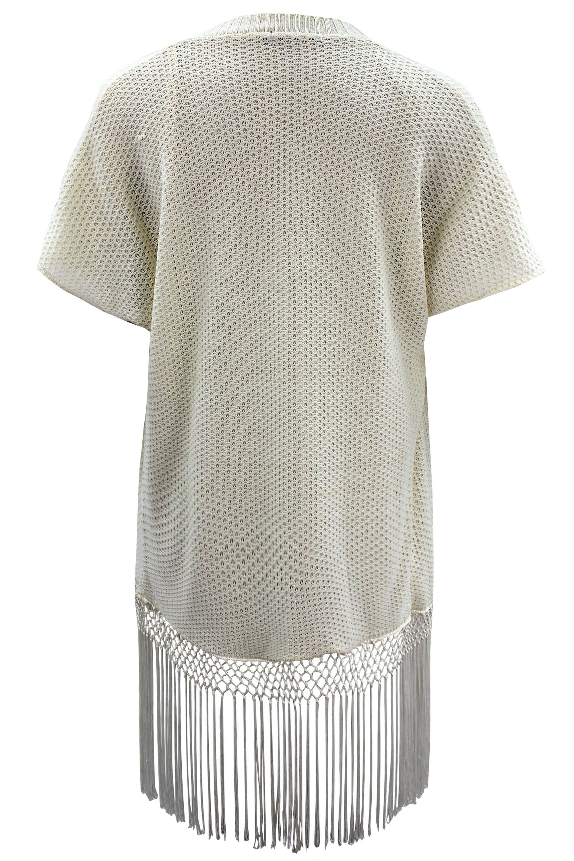 Ladies Womens Plus Size Short Sleeve Knitted Fringe Hem Kimono eBay