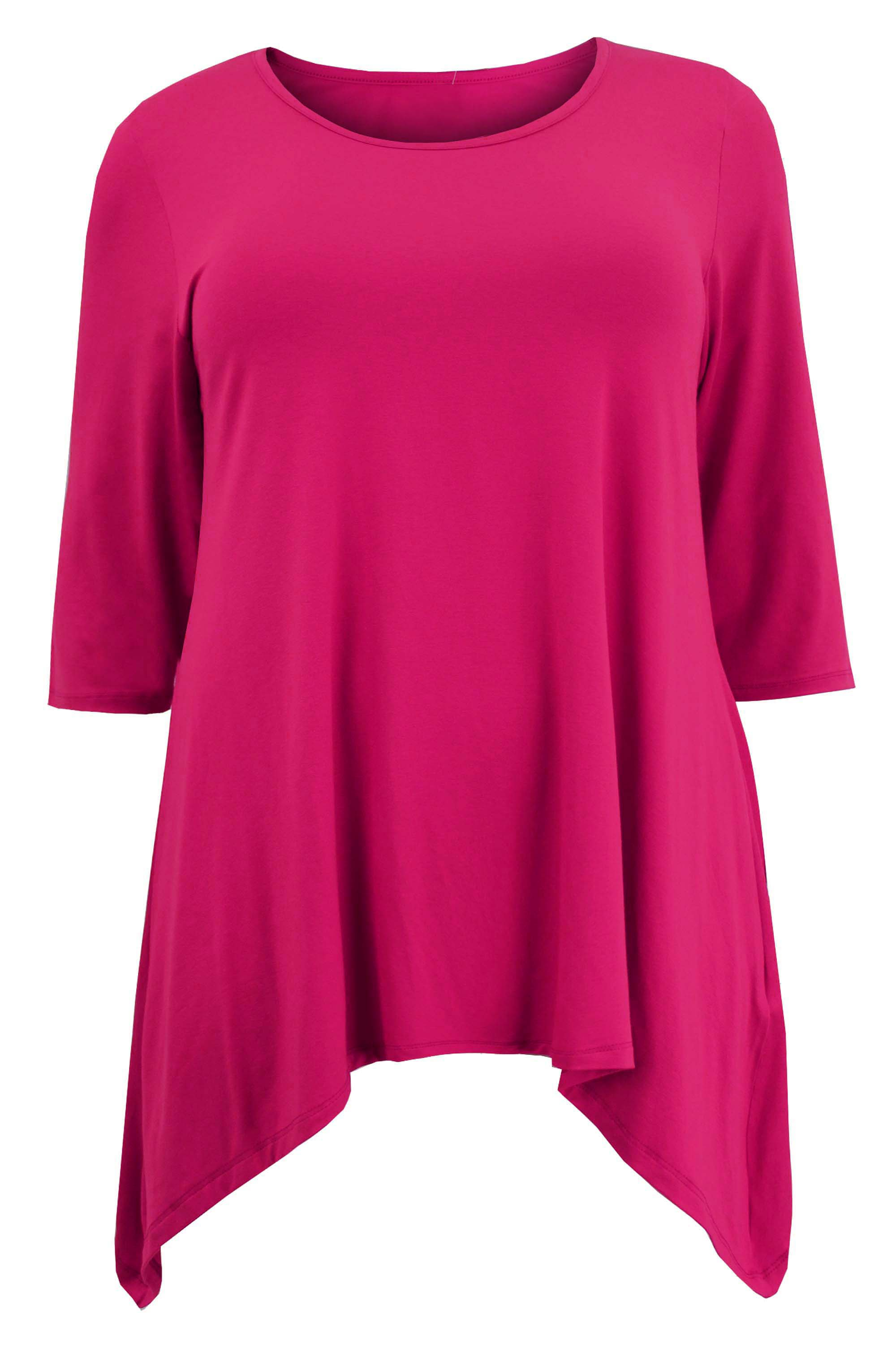 Ladies-Womens-Plus-Size-Three-Quarter-Sleeve-Asymmetric-Tunic