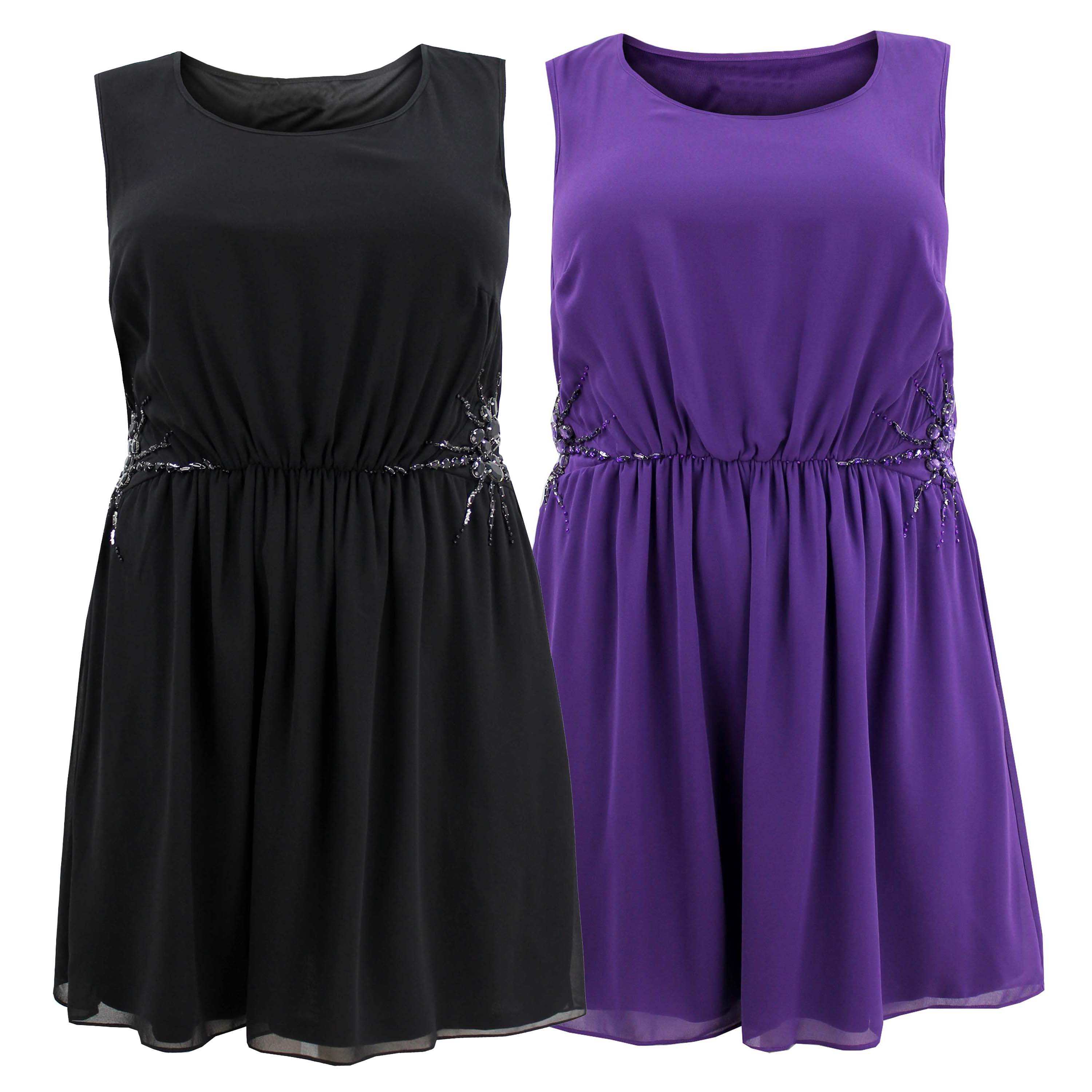 Ladies Womens Plus Size Sleeveless Jewel Trim Chiffon Skater Dress