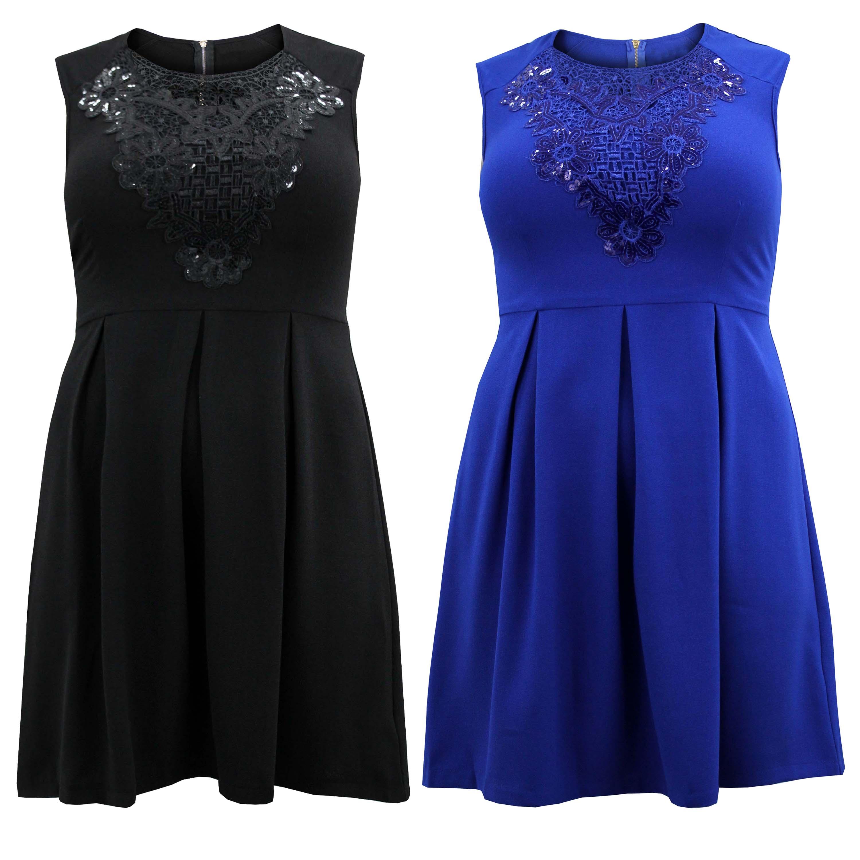 Ladies Womens Plus Size Skater Dress Lace Sequin Contrast Cap Sleeve Dress