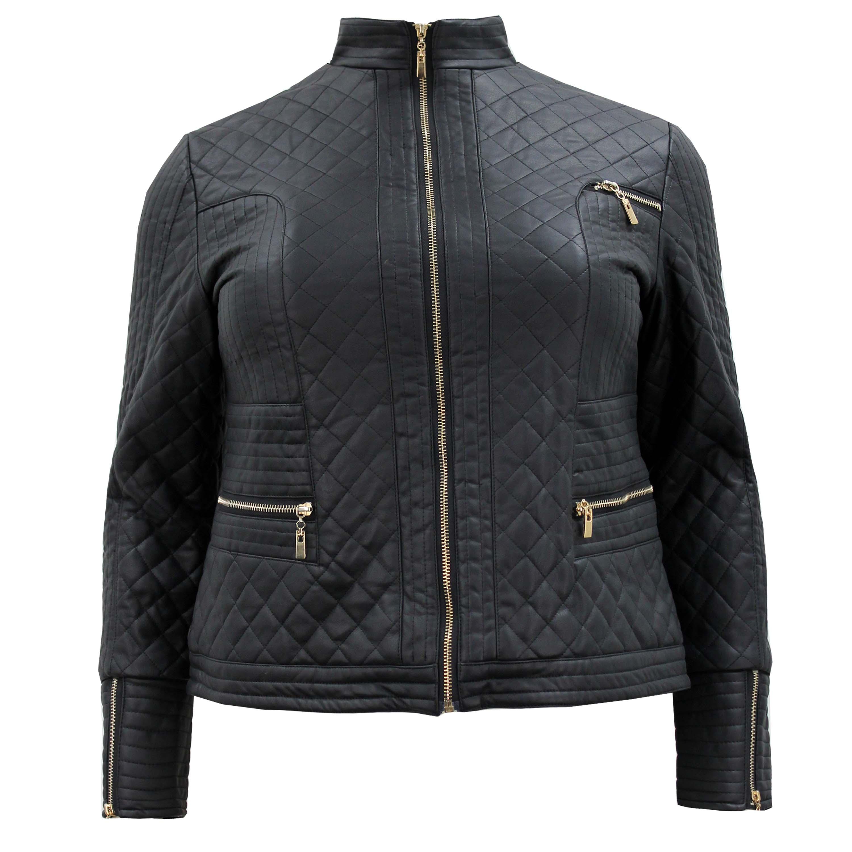 Curvy Plus Size Clothing    Designer    Leather Biker Jacket Plus Size