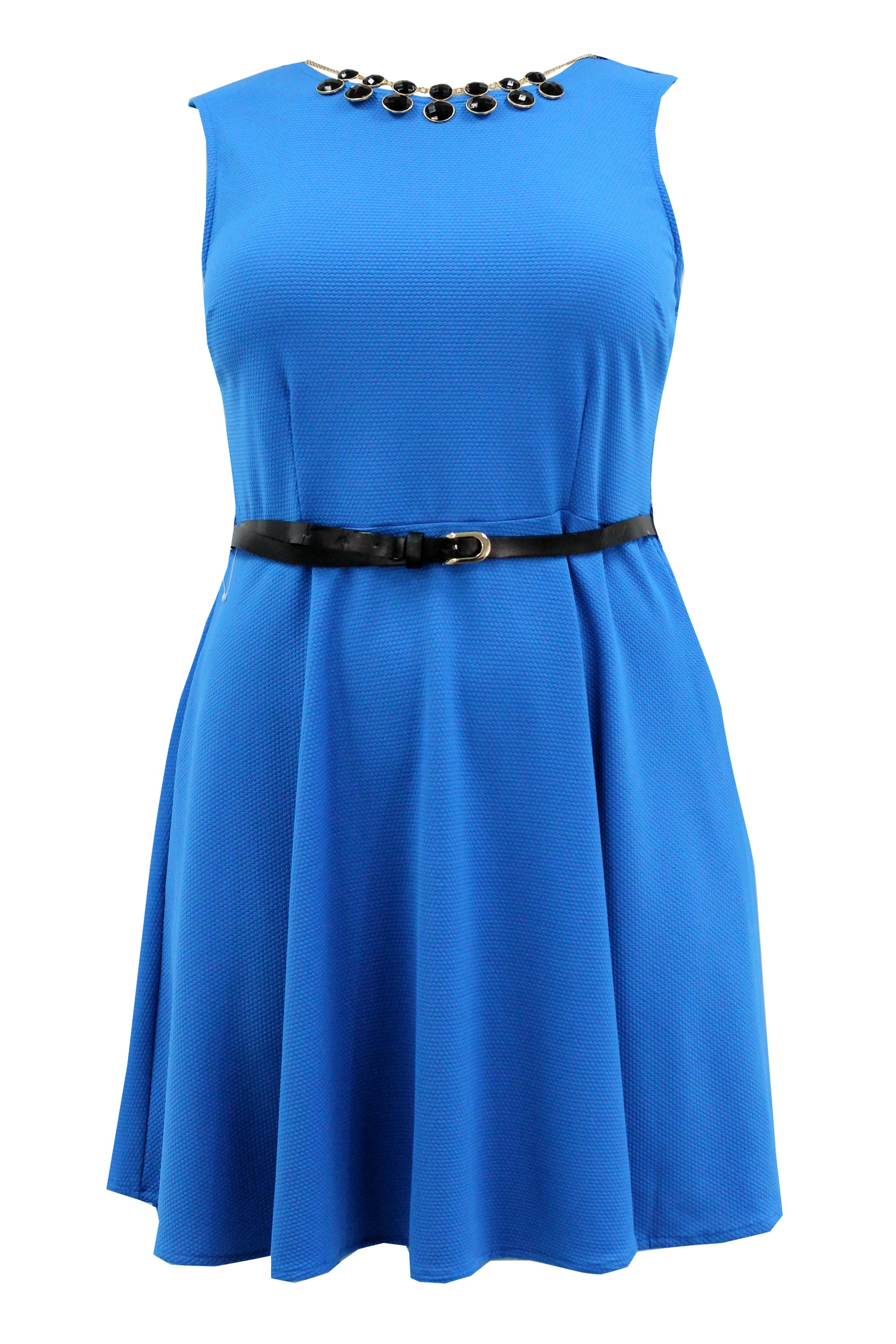 Ladies Womens Plus Size Skater Dress Necklace and Belt Detail Sleeveless