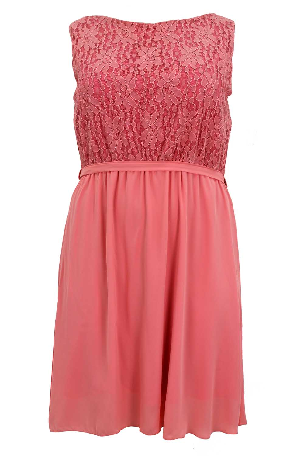 Ladies Womens Plus Size Skater Dress Lace Contrast Sleeveless Bow Back Detail