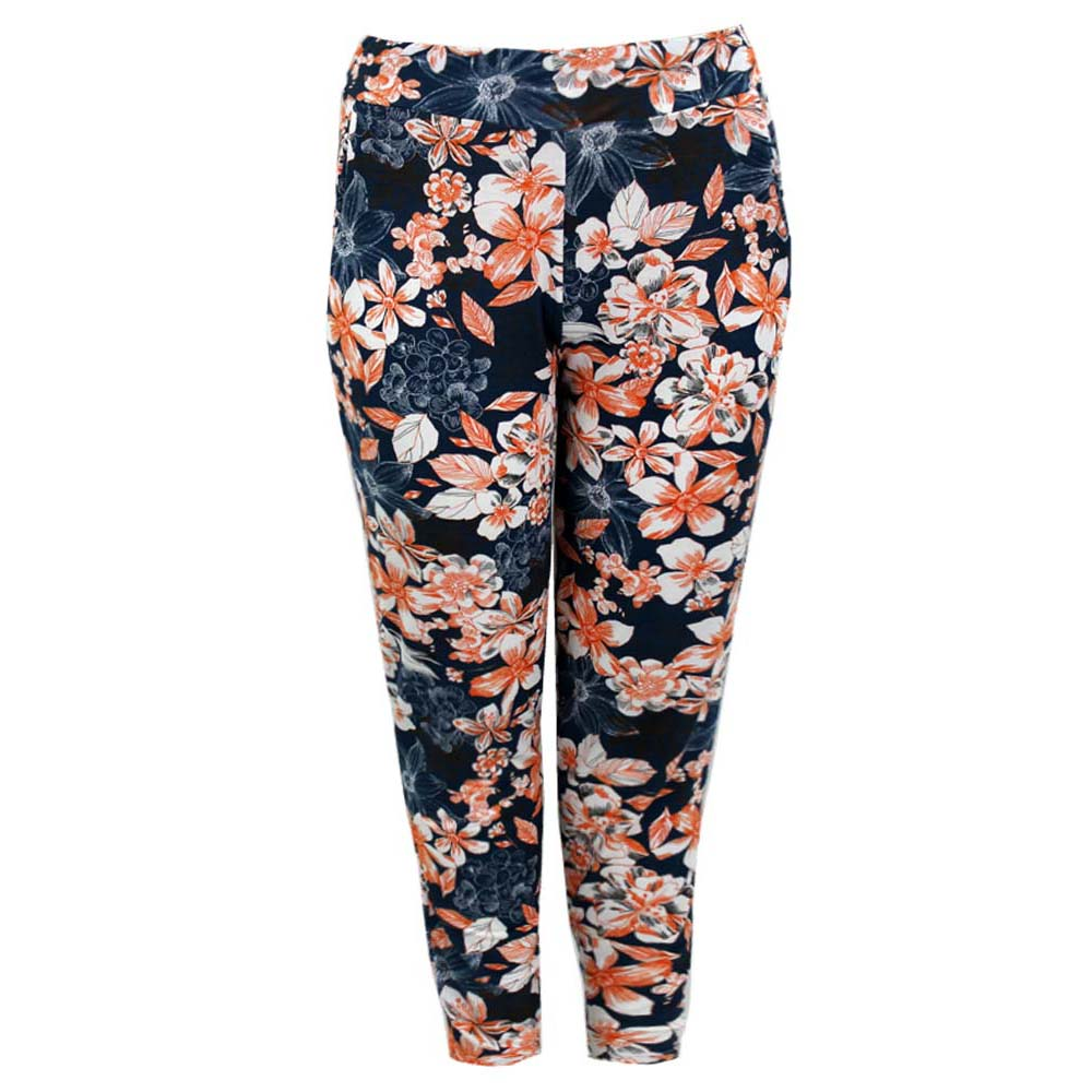 Ladies Womens Plus Size Harem Pants Printed Elasticated Waist Full Length