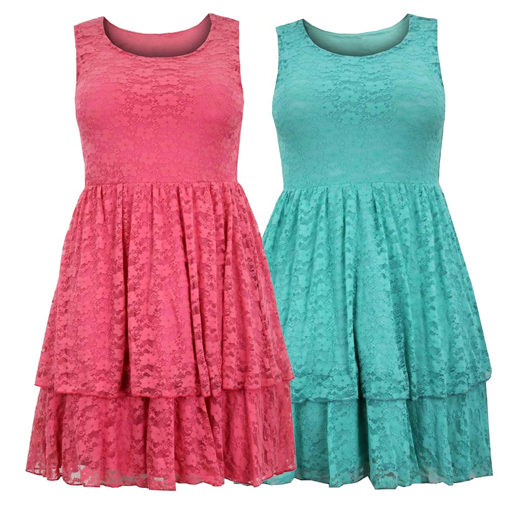 Ladies Womens Plus Size Dress Lace Sleeveless Attached Underskirt