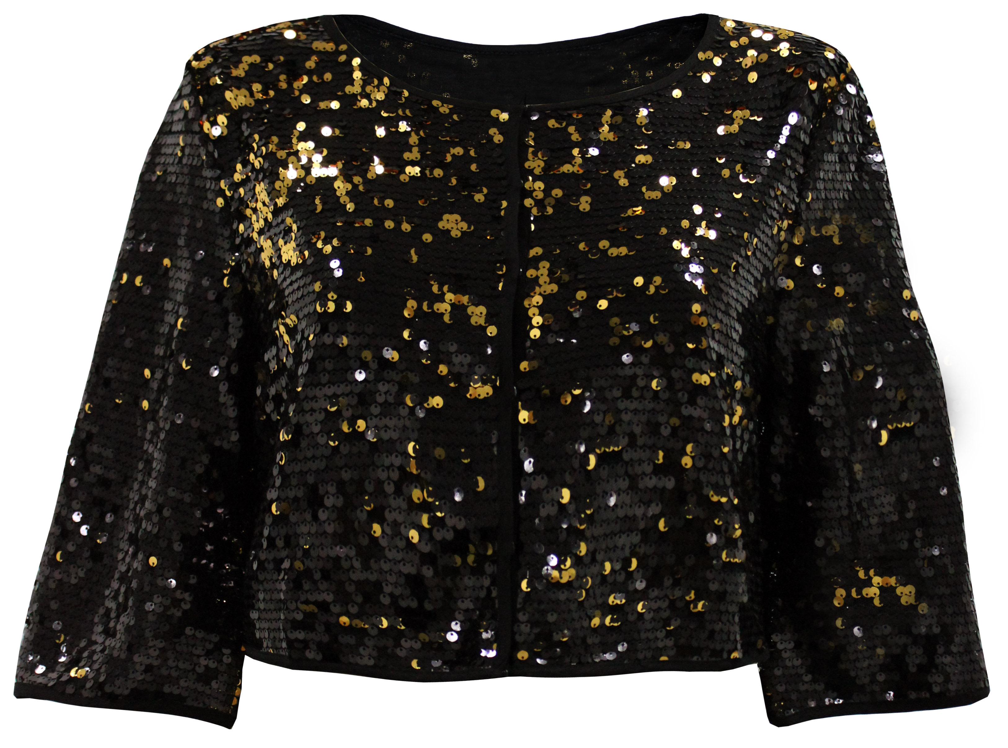 plus size black gold cropped sequin evening jacket