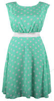 Lovedrobe Mint Satin Tie Polka Dot Dress