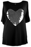 Koko Black Sequin Embellished Loveheart Design Tee
