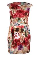 Koko Red Multi Floral Pleated Cut Out Dress