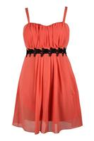 Lovedrobe Sherbert Grecian Pleated Lace Contrast Dress