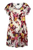 Lovedrobe Red Multi Floral Print Asymmetric Pleat Dress