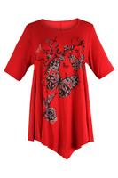 Ladies Red Butterfly and Glitter Print Tunic