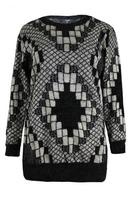 Koko Black/Stone Fluffy Mosaic Pattern Jumper