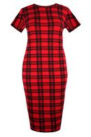 Ladies Red Tartan Check Body Contour Dress
