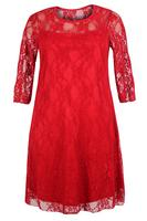 Ladies Red Lace Dress With Sheer Sleeves and Neckline