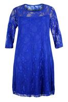 Ladies Blue Lace Dress With Sheer Sleeves and Neckline