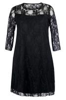 Ladies Black Lace Dress With Sheer Sleeves and Neckline
