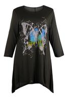 Ladies Brown Butterfly Print Asymmetric Tunic