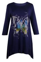 Ladies Navy Butterfly Print Asymmetric Tunic
