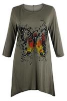 Ladies Khaki Butterfly Print Asymmetric Tunic