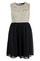 Koko Mocha/Black Sleeveless Chiffon Dress with Sequin Embellishment