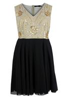 Koko Mocha/Black V-Neck Chiffon Dress with Sequin Trim