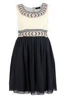 Lovedrobe Cream/Black Sleeveless Chiffon Dress with Sequin Trim