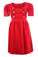 Ladies Red Military Style Dress