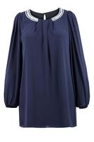 Ladies Navy Diamante Trim Chiffon Tunic