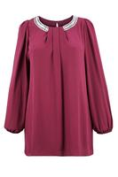 Ladies Wine Diamante Trim Chiffon Tunic