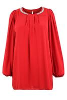 Ladies Red Diamante Trim Chiffon Tunic