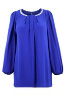 Ladies Blue Diamante Trim Chiffon Tunic
