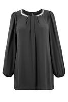 Ladies Black Diamante Trim Chiffon Tunic
