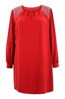 Ladies Red Sequin Trim Tunic