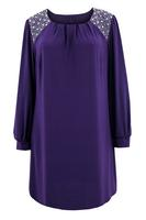 Ladies Purple Sequin Trim Tunic
