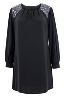 Ladies Black Sequin Trim Tunic