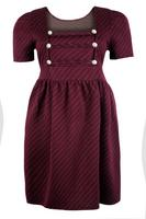 Ladies Wine Pin Stripe Military Style Dress