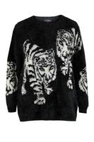 Lovedrobe Black Fluffy Tiger Jumper