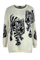Lovedrobe Stone Fluffy Tiger Jumper