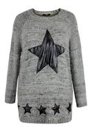 Koko Grey Fluffy PU Star Jumper