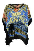 Lovedrobe Black/Blue Animal and Baroque Print Chiffon Kaftan
