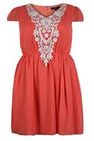 Koko Blue Salmon Pink Contrast Cap Sleeve Chiffon Dress