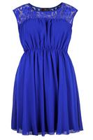 Lovedrobe Cobalt Blue Lace Contrast Dress