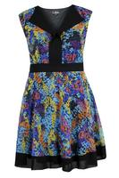 Lovedrobe Blue/Multi Open Placket Abstract Print Dress