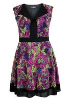 Lovedrobe Pink/Multi Open Placket Abstract Print Dress
