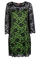 Lovedrobe GB Black & Lime Scallop Hem Lace Dress