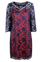 Lovedrobe GB Navy & Orange Scallop Hem Lace Dress