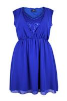 Lovedrobe Blue Chiffon Dress With Lace Insert V-Neck