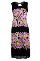 Koko Pink/Black Floral Print Chiffon Maxi Dress
