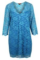 Lovedrobe Turquoise V Neck Scallop Edge Lace Dress
